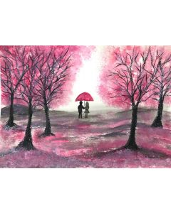 Love couple and cherry blossoms