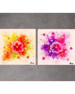Set of 2 floral painting on canvas, abstract floral painting, flower painting