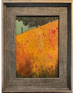 Contemplation - The field of poppies - original oil painting in a frame