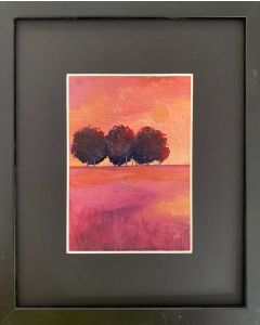 The crimson beeches - framed original oil painting.