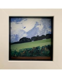 THE VALLEY GREEN. - framed original miniature oil painting