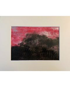 Pink light in the sky - original painting in a mount