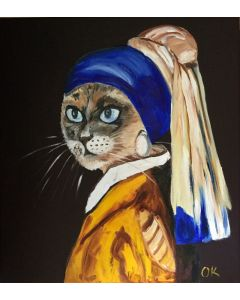 SIAMESE CAT WITH THE PEARL EARRING. FELINE ART. BLUE EYES. GIFT IDEA FOR CAT LOVERS