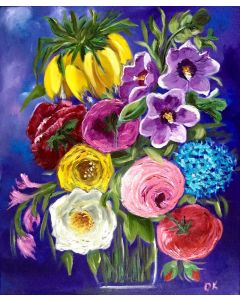 BOUQUET OF SUMMER FLOWERS FRITILLARIA, PEONIES, ROSES, HYDRANGEA, MALLOW STILL LIFE DUTCH STYLE OFFICE HOME DECOR GIFT