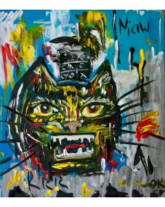 UNTITLED CAT VERSION OF FAMOUS PAINTING BY JEAN-MICHEL BASQUIAT (1982)