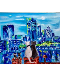 Cats in London, cityscape, family holiday