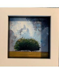 The gap in the clouds - framed miniature original  oil painting