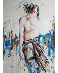 Evening Comes II -Mixed Media Drawing on Paper-Figurative mixed media on paper