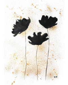Black and gold flowers abstract A4