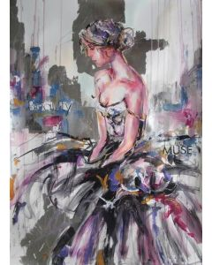The Muse-woman painting on paper