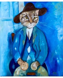 Troy The Cat Little Peasant inspired by portrait of Amedeo Modigliani (1918)