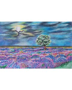 Oil Pastel Nature Landscape Approx W42cmxL29cm on thin Paper| Colourful Sky and Flowers Art| Unframed Artwork| Art Sale Landscape Scenery