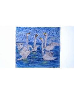 Buy One Get One Free Art|Watercolour Swans & Watercolour Whale Painting on Paper|Blue Scenery Paintings on Paper|Unframed Paintings|Art Sale