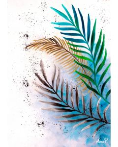 TROPICAL PALM Leaf Painting | Tropical Leaf wall art, botanica painting  golden leaf painting