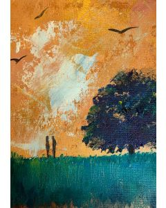You and me, our tree - original oil painting in a mount