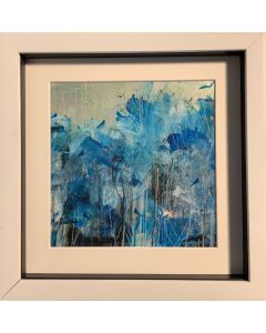 Winter birds in the frosted forest - original painting in box frame