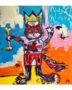 RED CAT IN A CROWN VERSION OF FAMOUS PAINTING BY JEAN-MICHEL BASQUIAT
