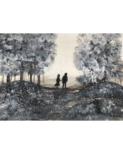 Love couple with red umbrella in winter A4