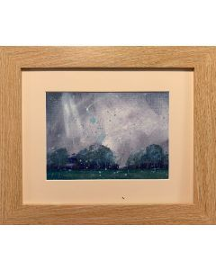 July stormy weather - soft summer rain - original framed oil painting