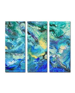 large abstract triptych three multi panel painting
