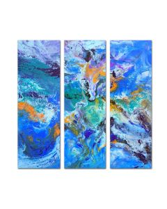 Summer vibes *- Large abstract triptych, three multi panel painting, contemporary artwork