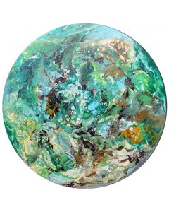 Tropical - extra large round modern abstract art