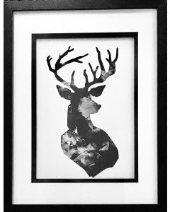 Stag original, glass framed print.