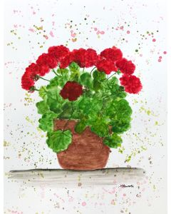 Red flowers in the pot 9x12