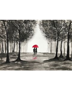 Love couple with red umbrella nr 5