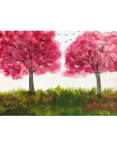 Two pink cherry blossoms trees
