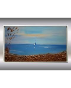 Seaview - Acrylic painting in frame, abstract seascape, original