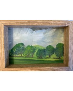 Spring Green - original framed mini oil painting