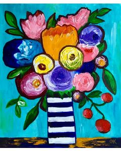 BOUQUET OF ABSTRACT NAIVE FLOWERS, TULIPS, ROSES IN A VASE #15 PALETTE KNIFE ORIGINAL ACRYLIC PAINTING OFFICE HOME DECOR GIFT
