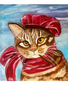 Cat in a red hat with a pipe