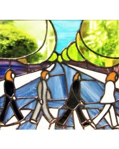 The Beatles Stained Glass Abbey Road John Lennon Handmade Window Hanging Panel MADE TO ORDER