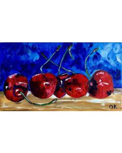 CHERRIES. STILL LIFE. PALETTE KNIFE PAINTING ON LINEN CANVAS