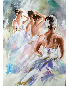 Backstage -Ballerina Painting on Paper