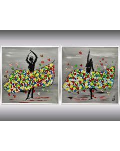 Ballerinas - Acrylic abstract paintings in frame