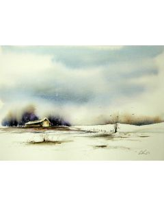 Barn. Original watercolour painting.