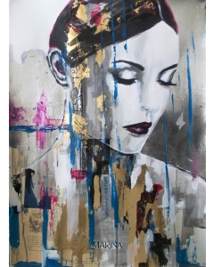 Night Sky -Mixed Media Painting on Paper-Woma Portrait on Paper