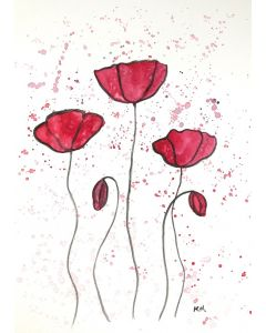 Red poppies flowers abstract