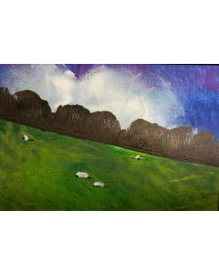 It's a beautiful day - original painting within a mount