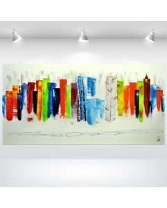 Exciting New York- XXl painting, abstract Cityscape, stretched canvas art, acrylic painting