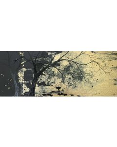 Black and Gold Tree Landscape 16 x 40inch