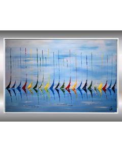Blue Summer- Acrylic sailboat painting, abstract art in frame, original