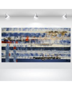 Blue Horizontal - Abstract Acrylic Painting on Canvas, Stretched Canvas Art