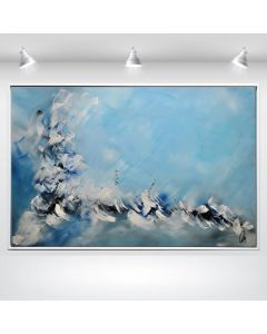 Blue Dances Abstract Acrylic Artwork in Frame, Blue Painting