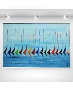 Blue Summer - Abstract acrylic painting in frame