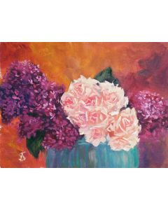 BOUQUET OF LILACS AND ROSES