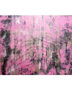 Break the ice between us - XL silver and pink abstract painting